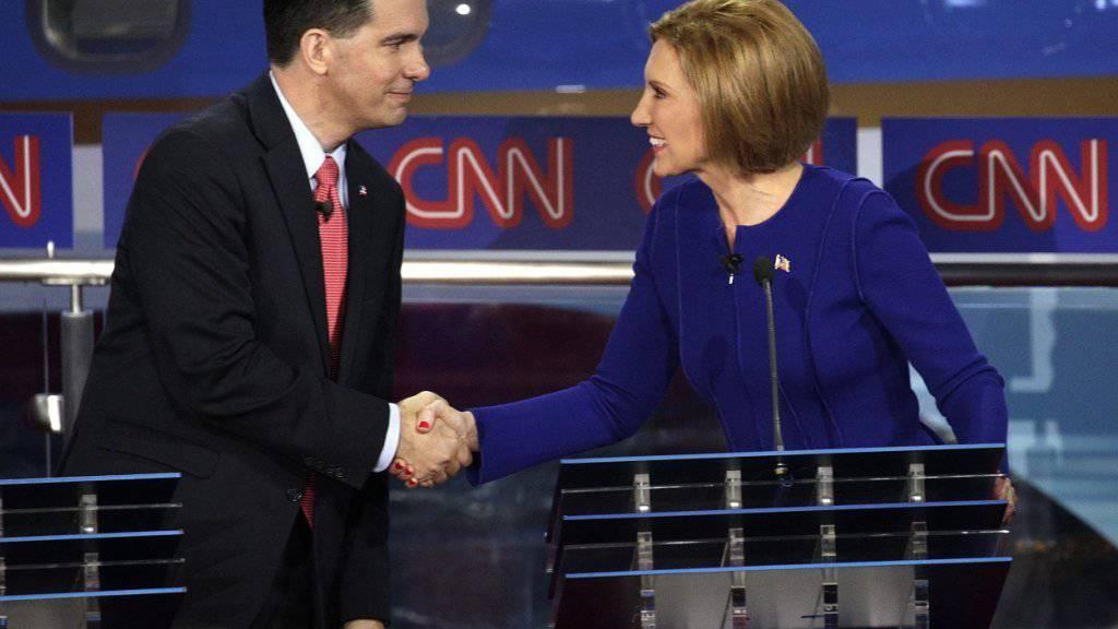 Vereint gegen Donald Trump: Gouverneur Scott Walker und Carly Fiorina.