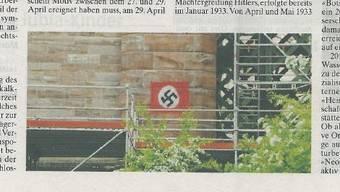 Hakenkreuz am Eisenbahnviadukt in Koblenz.