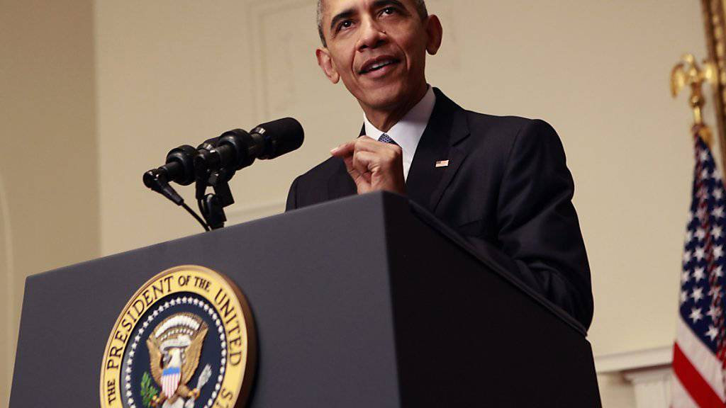 US-Präsident Barack Obama trat nach dem Abschluss der Klimavereinbarung von Paris in Washington vor die Kameras und lobte das Abkommen.