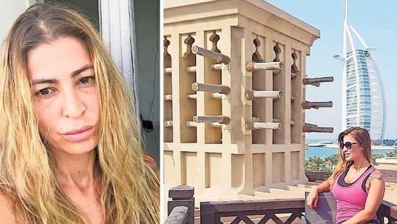 Iman Gustafsson heute und im September 2017 mit dem bekannten Burj al Arab im Hintergrund: Damals konnte sie Dubai noch geniessen.
