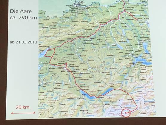 Flussbild der Aare von der Quelle bis zum Rhein