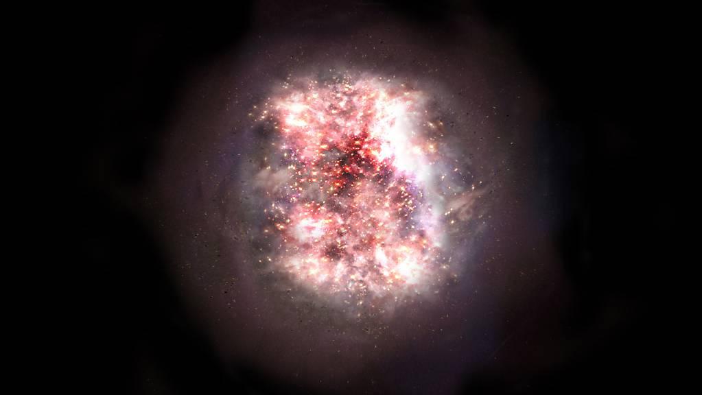 Eine künstlerische Darstellung einer in Staub gehüllter Galaxie: Mit Beobachtungsdaten des Alma-Obervatoriums konnten Astronomen zwei solcher bislang unsichtbaren Galaxien nachweisen. (Pressebild)