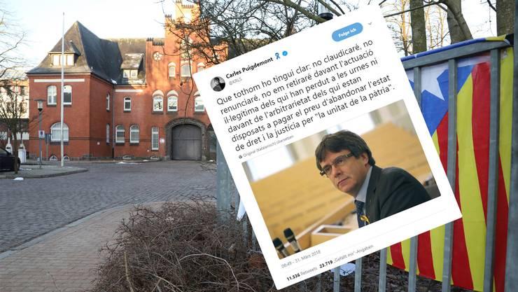 Carles Puigdemont meldet sich via Twitter aus der Justizvollzugsanstalt in Neumünster.