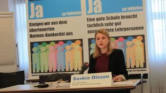 Saskia Olsson, Geschäftsführerin des Komitees Starke Schule Baselland, im Regierungsgebäude in Liestal