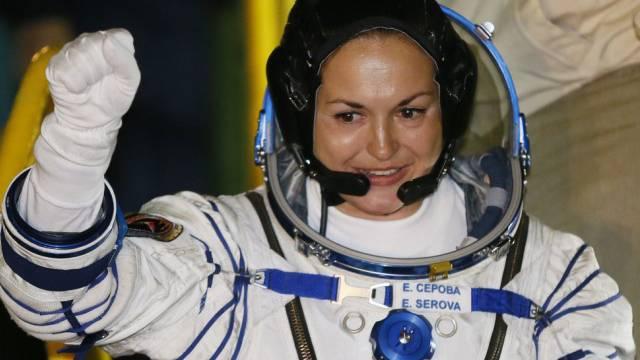 Bereit für die Mission: Astronautin Jelena Serowa in Baikonur