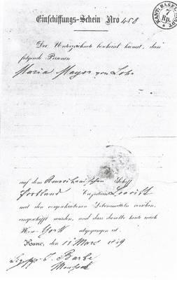 Der Einschiffungsschein von 1859 von Maria Mayer aus Lohn.