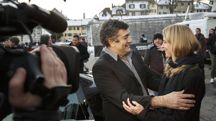 Er ist der Reggiseur vom Film «Die Schwalbe». Sie Seraina Rohrer, die Direktorin der Filmtage.