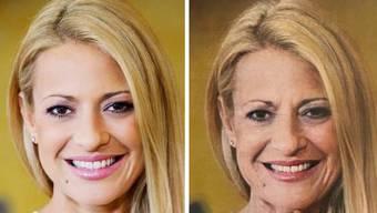 Christa Rigozzi - jetzt und im Alter laut der Face App