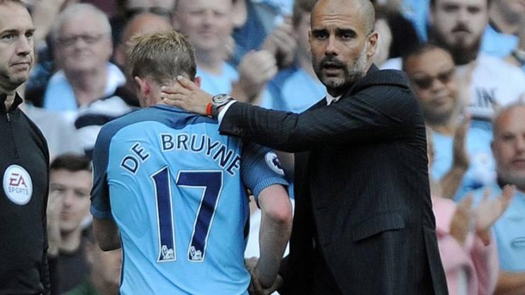 City-Coach Pep Guardiola muss in den nächsten Wochen auf den verletzten Kevin de Bruyne verzichten