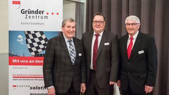 Sie prägten und prägen das Gründerzentrum (v. l.): Frédéric Flückiger (ehem. Präsident, Marc Thommen (jetziger Präsident) und Fritz Tanner (ehem. Präsident).