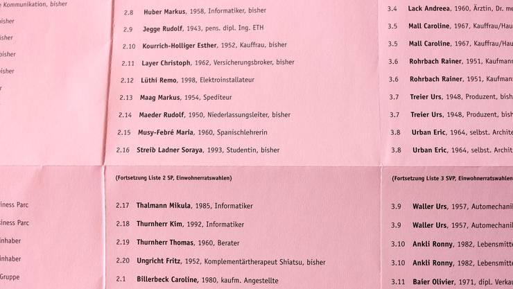 Zettel des Anstosses: In Reinach ist der Falz unbeschriftet – in Binningen schon.