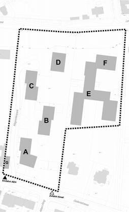 Links das Helvetia-Areal (A–D), rechts das private (E, F). Unten verläuft die Gellertstrasse.