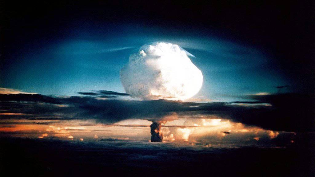 US-Atombombentest auf einem Atoll der Marshall-Inseln im Jahr 1952.