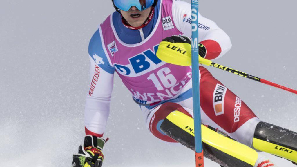 Loïc Meillard verbesserte sich im zweiten Lauf vom 18. in den 11. Rang und war damit zweitbester Schweizer