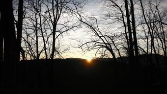 Sonnenaufgang am 21. Dezember vom Rotenflüher Horn aus gesehen.