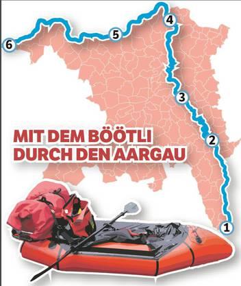 Reise durch den Aargau im Schlauchboot, von Südosten (Oberrüti) nach Nordwesten (Kaiseraugst) mit Übernachtungen in der freien Natur. Fünfte Etappe: Von Mumpf bis ans Ziel in Kaiseraugst.