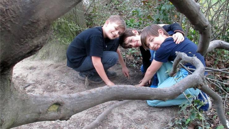 Sie könnten mit Ihrem Fund im Hardwald die Geschichte verändert haben: Die Muttenzer Primarschüler Alex, Luca und Andy (v.l.) zeigen auf die Fundstelle.