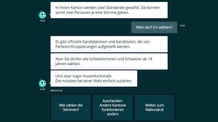 Beantwortet verschiedene Fragen zum Wählen: Chatbot «Parli»
