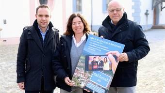 Grosse Vorfreude: Daniel Baumgartner (l.) und Roland Indermühle vom OK mit Produktionsleiterin Ramona Ziegler.ZVG