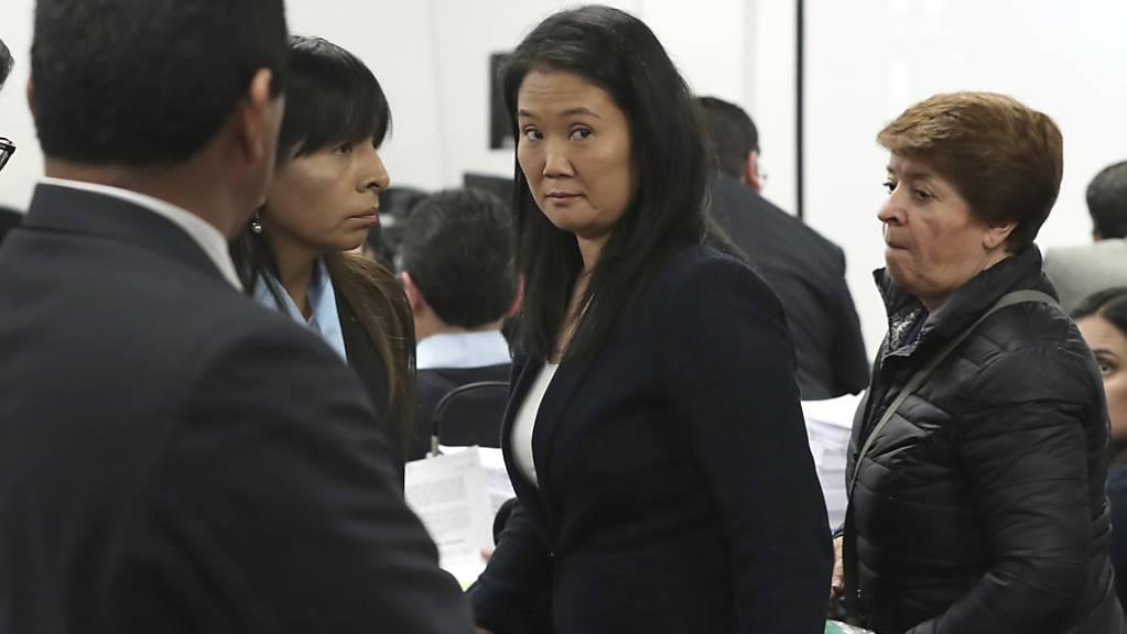 Die peruanische Oppositionspolitikerin Keiko Fujimori während einer Anhörung.