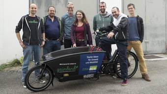 Das Team hinter dem Cargovelo Olten (von links): Simon Kiefer, Olivier Conca, Rolf Bruckert, Anita Wüthrich, Raphael Schär, Tobias Vega und Matthias Tschopp