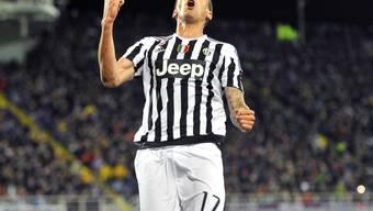 Mario Mandzukic nach seinem Tor für Juventus Turin gegen die Fiorentina