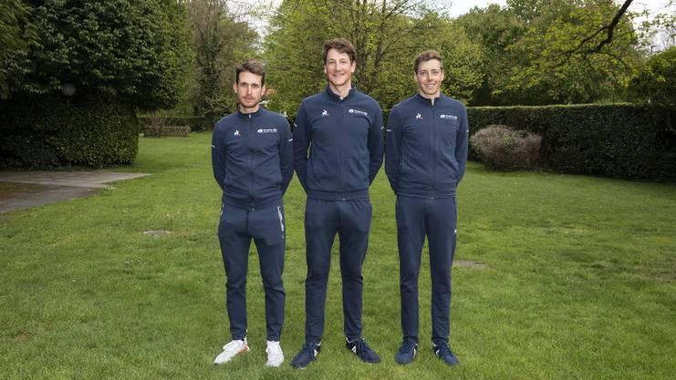 Die drei Schweizer im Team Groupama-FDJ: Sebastian Reichenbach, Stefan Küng und Kilian Frankiny (v.l.n.r.)