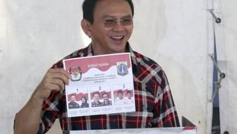 Der ehemalige Gouverneur von Indonesiens Hauptstadt Jakarta, Basuki Tjahaja Purnama alias Ahok, ist am Donnerstag vorzeitig aus dem Gefängnis freigelassen worden. (Archivbild)