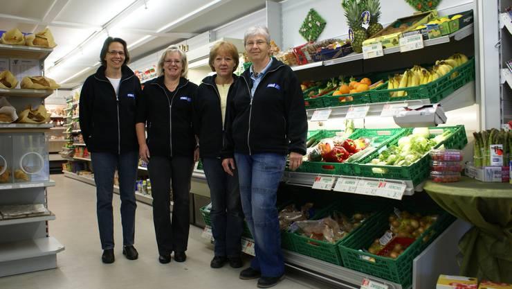 Das Dorfladen-Team ist seit 10 Jahren fast unverändert: (v.l.) Beatrice Felder, Pächterin Doris Steimer, Marianne Schär und Gertrud Laube.