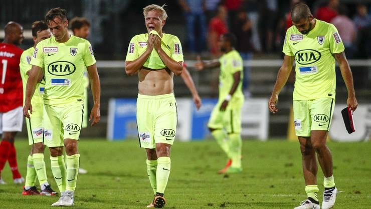 Enttäuschung bei Raoul Giger, Mats Hammerich und Alessandro Ciarrocchi nach dem Unentschieden.
