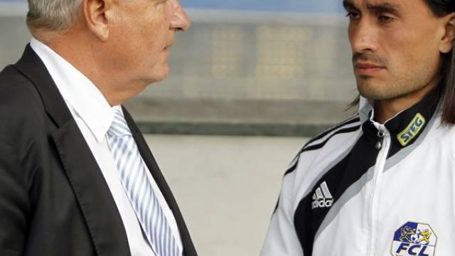 Der Präsident des FC Luzern Walter Stierli, links