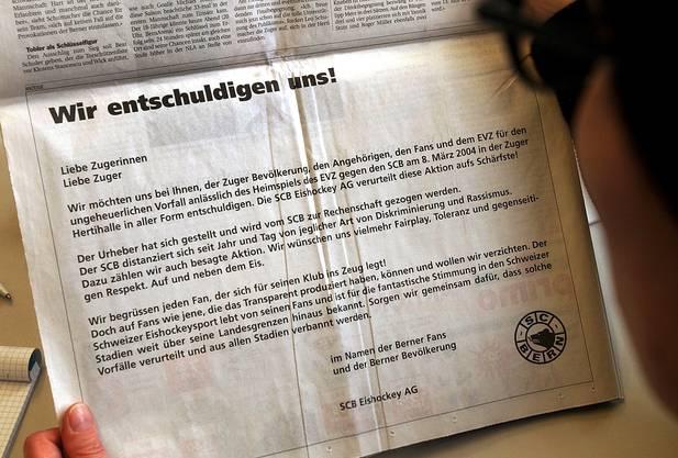 Per Inserat entschuldigt sich der SCB für ein Transparent, welches an einem Eishockeyspiel nach dem Massaker ausgerollt wurde
