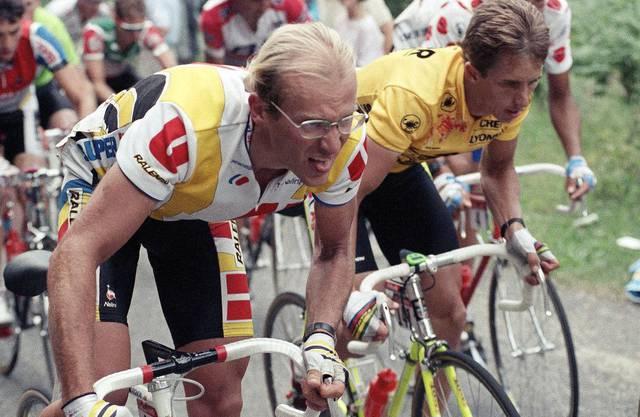 Acht Sekunden trennten 1989 den Zweitplatzierten Laurent Fignon (links) vom Sieger Greg LeMond.