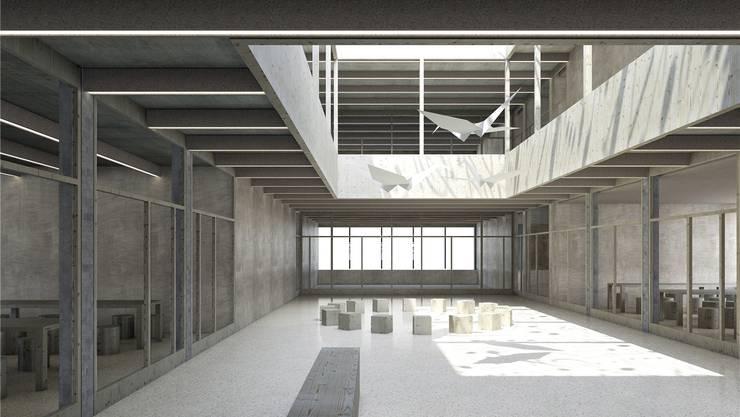 Der zweigeschossige Lichthof ist das Kernstück des Schulhauses 5. Er garantiert eine optimale Belichtung des Gebäudes. Visualisierung: zvg