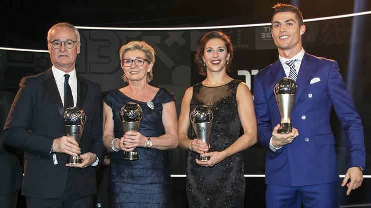 Die Preisträger (v.l.): Claudio Ranieri, Silvia Neid, Carli Lloyd und Christiano Ronaldo.