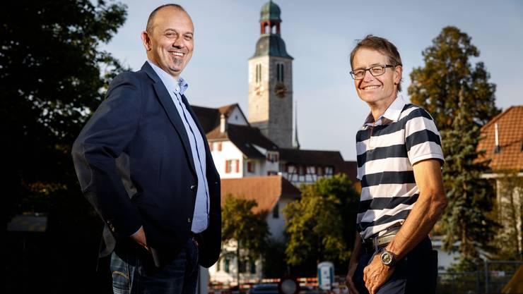 Marc Spirig und Ueli Kölliker (v.l.) wollen Gemeindepräsident von Oberdorf werden.
