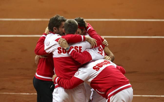Das Schweizer Davis-Cup-Team feiert