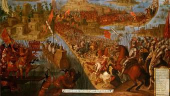 1521: Hernán Cortés «erobert» Tenochtitlán, der Künstler dürfte die Anzahl der spanischen Infanteristen übertrieben haben.