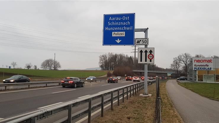 Bei der Verlängerung der Ausfahrt Aarau Ost auf der A1 wurde der Pannenstreifen auch umgenutzt – eine Beschwerde dagegen gab es nicht.