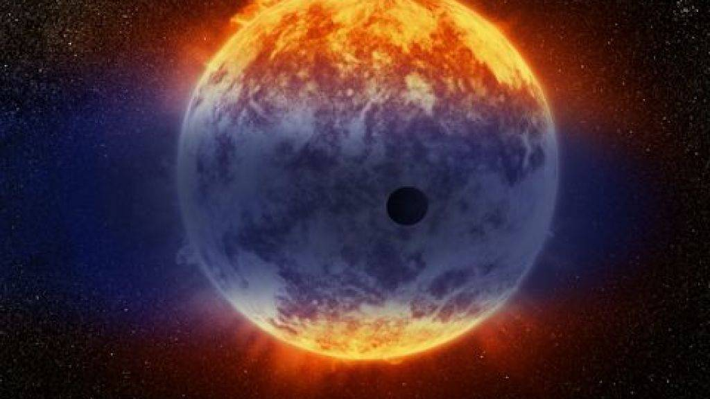 Die künstlerische Darstellung zeigt eine Wasserstoffwolke, die vom Exoplaneten GJ3470b strömt.
