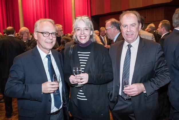 V.l.n.r.: Markus Grolimund (Verwaltungschef und Erster Gerichtsschreiber, Zivilgericht BS), Brigitte Hollinger (Präsidentin SP BS) und Marcel Schweizer (Präsident Gewerbeverband BS).