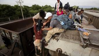 Migranten auf einem Güterzug in Mexiko (Archiv)