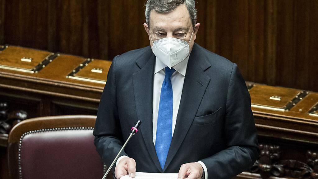 Mario Draghi, Ministerpräsident von Italien, spricht vor der Abgeordnetenkammer in Rom.
