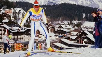 Mit einem Stock den Siitonenschritt perfektioniert: Gunde Svan an der Nordischen Ski-WM 1985 in Seefeld