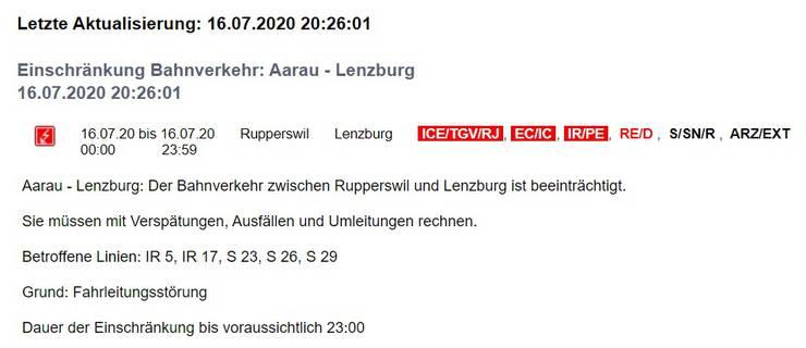 Bahnverkehrsinformation Aarau - Lenzburg, 16.07.2020