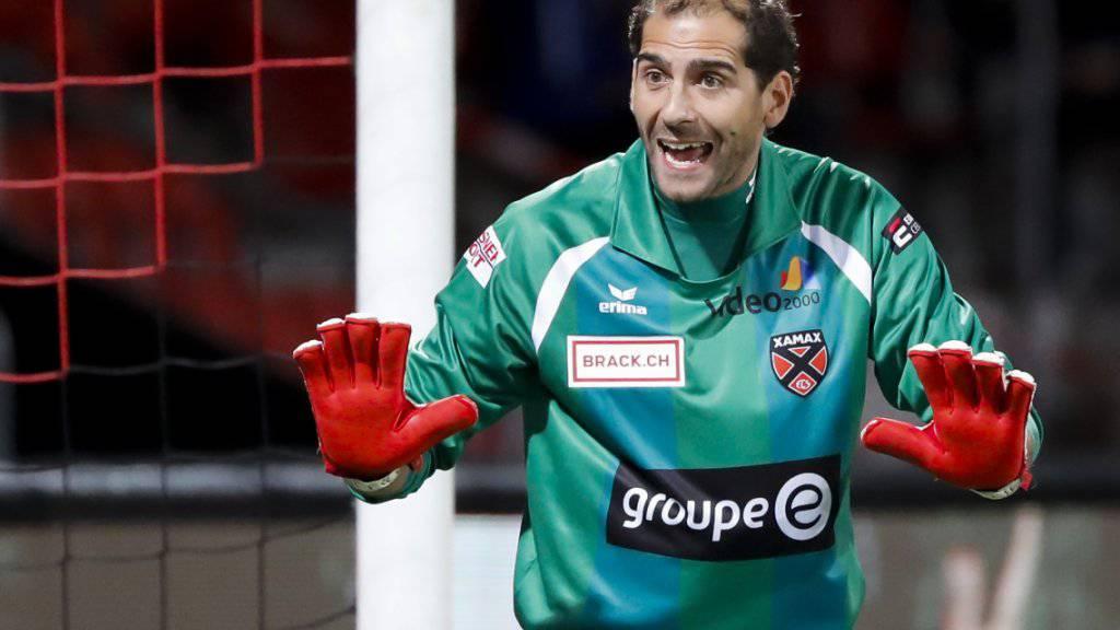 Xamax-Goalie Federico Nicastro hält seinen Kasten in Winterthur rein. (Archivbild)