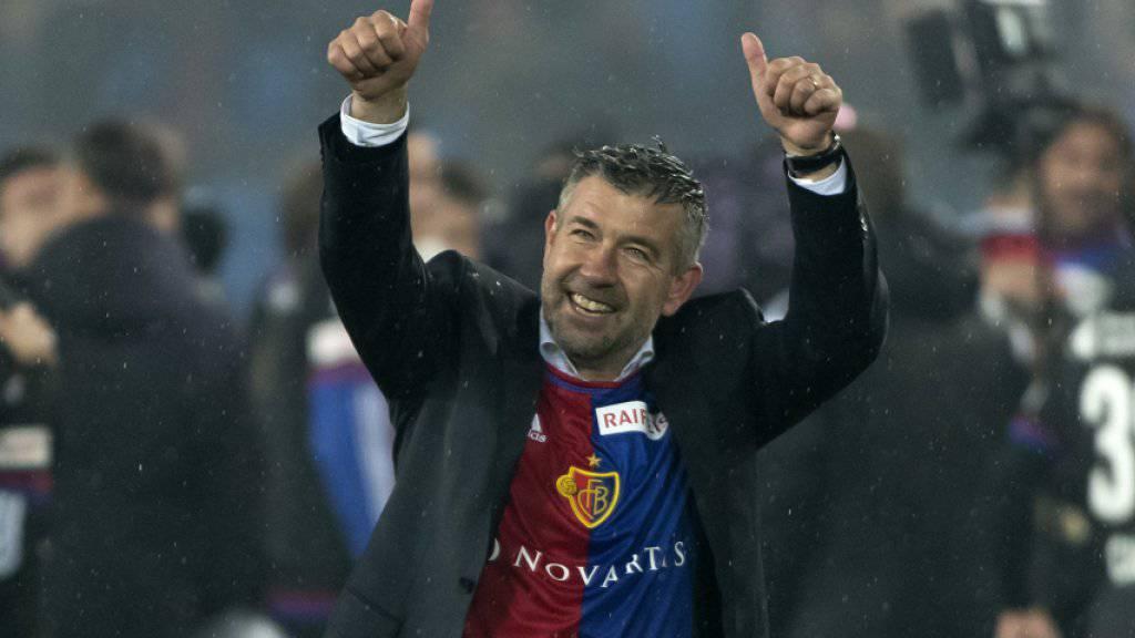 Trainer Urs Fischer nimmt mit dem FC Basel mit dem Heimspiel gegen Sion die Titelverteidigung in Angriff