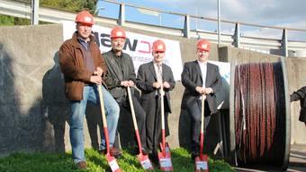 Peter Baumann (Leiter Bau und Planung), Gilbert Ambühl, Marcel Eheim und Marcel Pfister (Projektleiter GAW).