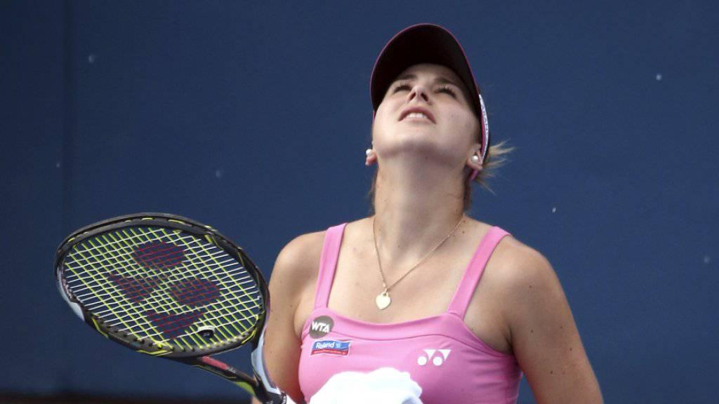 Von oben kommt nichts Gutes: Der Halbfinal von Belinda Bencic gegen Monica Puig in Sydney musste wegen Regens abgebrochen und auf Freitag verschoben werden