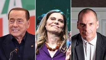 Von links nach rechts: Silvio Berlusconi, Sarah Wiener, und Yanis Varoufakis.